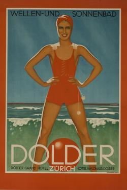 Dolder Grand Hotel Zurich Switzerland Travel Poster Wellen-Und Sonnenbad by David Pollack