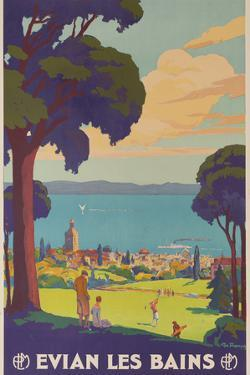 Evian Les Bains, French PLM Railway Gold Poster by David Pollack