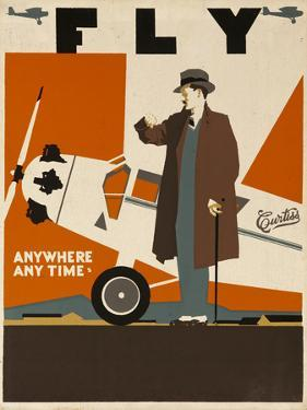 Fly Anywhere Any Time, 1930 Curtiss Aircraft Advertising Poster by David Pollack