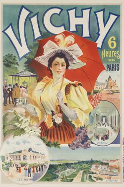 French Travel Poster Vichy France, 6 Hours from Paris by David Pollack