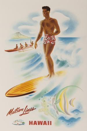 Matson Lines Travel Poster Hawaii Surfer by David Pollack