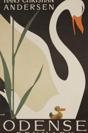 Odense Denmark Travel Poster, Hans Christian Andersen Ugly Duckling by David Pollack