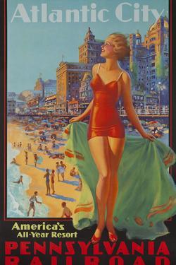 Pennsylvania Railroad Travel Poster, Atlantic City Bathing Beauty by David Pollack