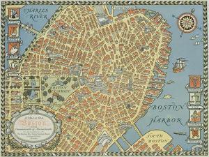 Souvenir Map of Boston by David Pollack