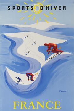 Sports D'hiver, France, French Travel Poster Winter Sports by David Pollack