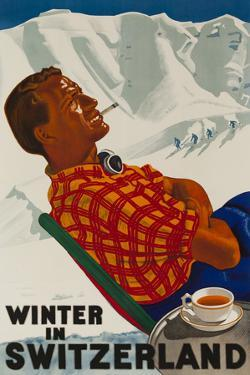 Winter in Switzerland Travel Poster by David Pollack