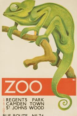 Zoo, Iguana London Bus Route No. 74 Advertising Poster by David Pollack