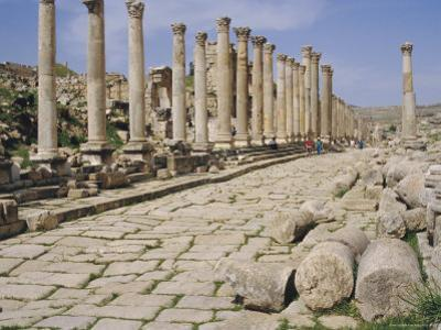 Colonnaded Street, Roman Ruins, Jerash, Jordan, Middle East by David Poole