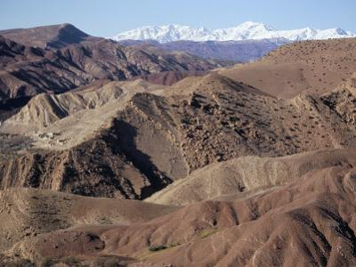 Mountains and Village Near Telouet, High Atlas Mountains, Morocco, North Africa, Africa by David Poole