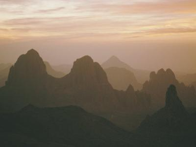 Sahara Desert, Hoggar Mountains, Sunrise Over Assekrem, Algeria, North Africa by David Poole