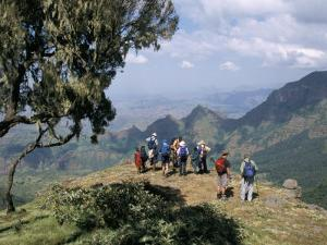 Tourists Trekking, Simien Mountains National Park, Unesco World Heritage Site, Ethiopia, Africa by David Poole