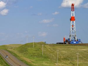 Patterson Uti Oil Drilling Rig Along Highway 200 West of Killdeer, North Dakota, USA by David R. Frazier