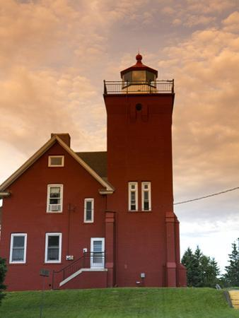 Two Harbors Lighthouse Overlooking Agate Bay, Lake Superior, Two Harbors, Minnesota, USA by David R. Frazier