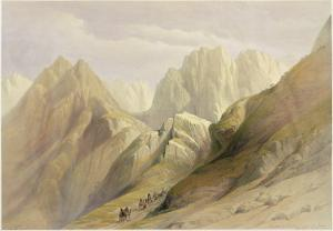 Ascent of the Lower Range of Sinai, February 18th 1839, Plate 114 by David Roberts