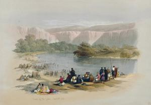 Banks of the Jordan, 1839, Plate 48 from Volume II of The Holy Land, Engraved by Louis Haghe by David Roberts