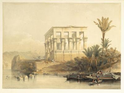 Hypaethral Temple at Philae, Bed of Pharaoh, Plate 65, Vol.II Egypt and Nubia, Engraved Haghe by David Roberts