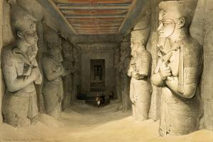 """Interior of the Temple of Abu Simbel, from """"Egypt and Nubia,"""" Vol.1 by David Roberts"""