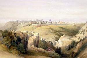 """Jerusalem from the Mount of Olives, April 8th 1839, Plate 6 from Volume I of """"The Holy Land"""" by David Roberts"""