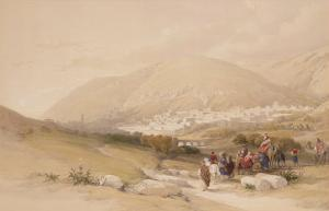 """Nablous, Ancient Shechem, April 17th 1839, Plate 42 from Volume I of """"The Holy Land"""" by David Roberts"""