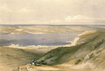 Sea of Galilee or Genezareth, Looking Towards Bashan, April 21st 1839, Pub. 1842 by David Roberts