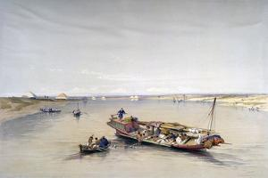 The Nile Looking Towards the Pyramids of Dahshur and Saqqarah, 19th Century by David Roberts
