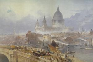 View of Blackfriars Bridge and St Paul's Cathedral, London, 1840 by David Roberts