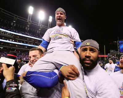 David Ross celebrates winning Game 7 of the 2016 World Series