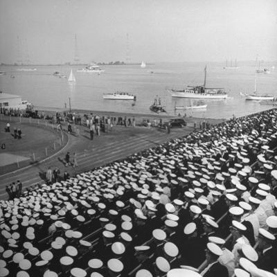A View of Ships in the Water Near the Stadium During an Annapolis Naval Academy Football Game by David Scherman