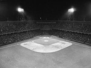 Aerial View Showing the Brooklyn Dodgers vs. St. Louis Cardinals Baseball Game at Ebbets Field by David Scherman