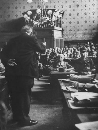 Edouard Herriot Pointing an Accusing Finger at Henri P. Petain During Petain's Trial for Treason by David Scherman