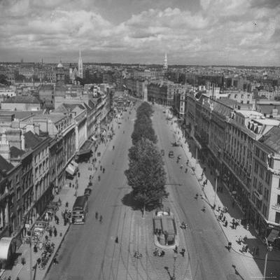 O'Connell St, Lack of Cars Has Made Dublin's Leaves Greener, Horses Have Caused New Influx of Flies by David Scherman