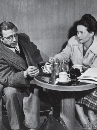 Philosopher Writer Jean Paul Sartre and Simone de Beauvoir Taking Tea Together by David Scherman