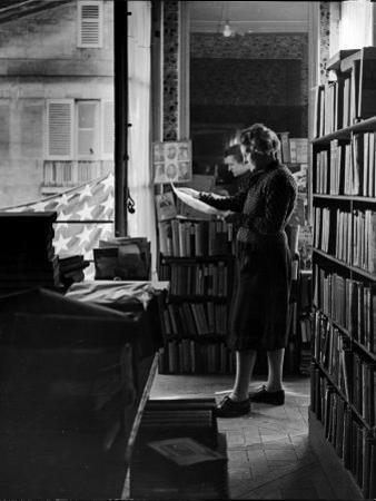 Sylvia Beach in Upstairs Apartment Where She Hid Her Books During German Occupation by David Scherman