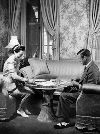 The Duke Windsor and His Wife, Playing a Card Game in Their Home by David Scherman