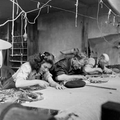 Workroom with Weft Threads to Create Tapestries, Aubusson, France, June 1946 by David Scherman