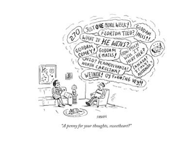 """""""A penny for your thoughts, sweetheart?"""" - Cartoon"""