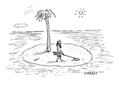 Castaway on Island with metal detector. - New Yorker Cartoon