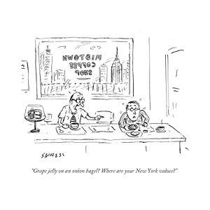 """Grape jelly on an onion bagel? Where are your New York values?"" - Cartoon by David Sipress"
