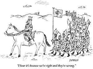 """""""I hear it's because we're right and they're wrong."""" - New Yorker Cartoon by David Sipress"""