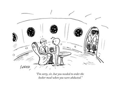 """""""I'm sorry, sir, but you needed to order the kosher meal when you were abd..."""" - New Yorker Cartoon"""