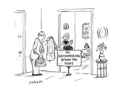 """Man comes home from work to find sign in living room doorway reading """"No E... - New Yorker Cartoon"""