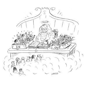 St. Peter is seen in heaven at a desk with two boxes full of people, one i… - New Yorker Cartoon by David Sipress