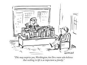 """""""This may surprise you, Worthington, but I'm a man who believes that nothi?"""" - New Yorker Cartoon by David Sipress"""