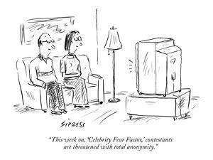 """""""This week on, 'Celebrity Fear Factor,' contestants are threatened with to…"""" - New Yorker Cartoon by David Sipress"""