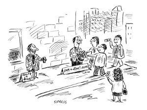 Two beggars side-by-side on the street. One has a sign reading 'Spare a di? - New Yorker Cartoon by David Sipress