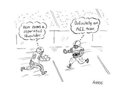 Two football players run toward each other thinking of their impending inj... - New Yorker Cartoon