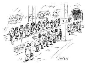 Two lines of people await the subway, which seems to be going both uptown … - New Yorker Cartoon by David Sipress