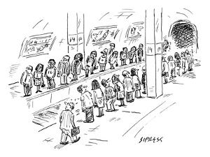 Two lines of people await the subway, which seems to be going both uptown ? - New Yorker Cartoon by David Sipress