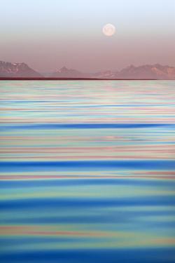 Arctic, Svalbard, Longsfjorden. Moonrise at Midnight by David Slater