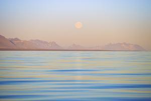 Arctic, Svalbard, Longsfjorden. Moonrise Rises Above Dust at Midnight by David Slater